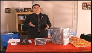 Andy Esquivel shows off his fake products